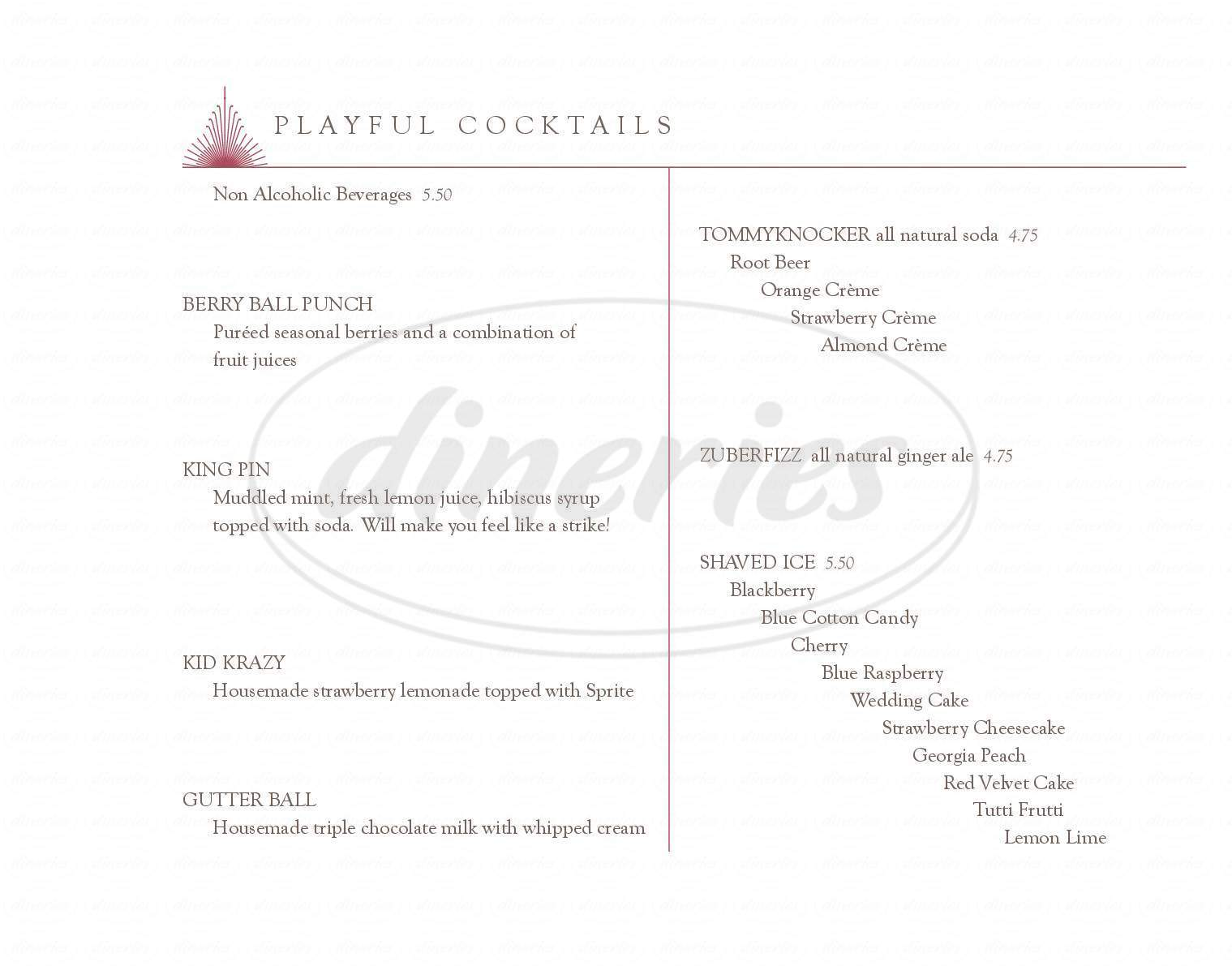 menu for Play at the Broadmoor