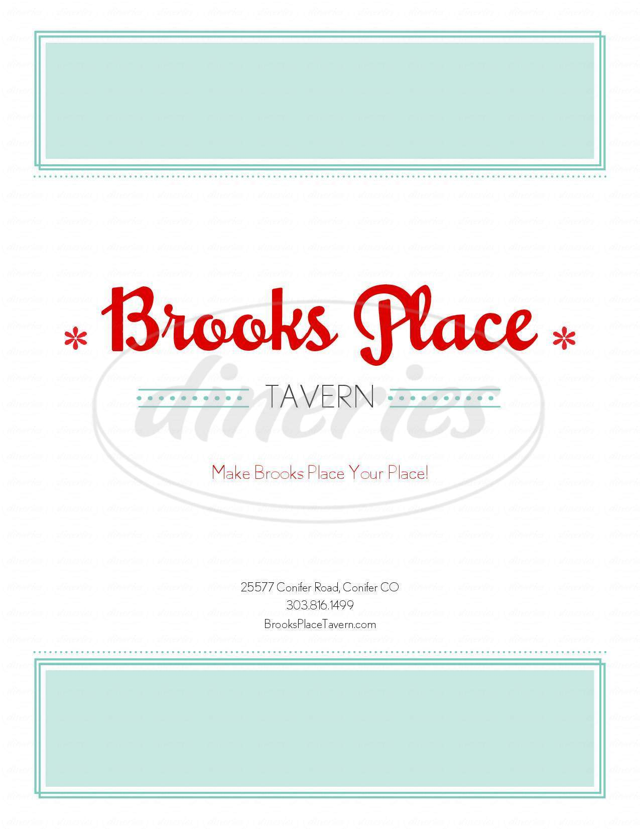 menu for Brooks Place Tavern