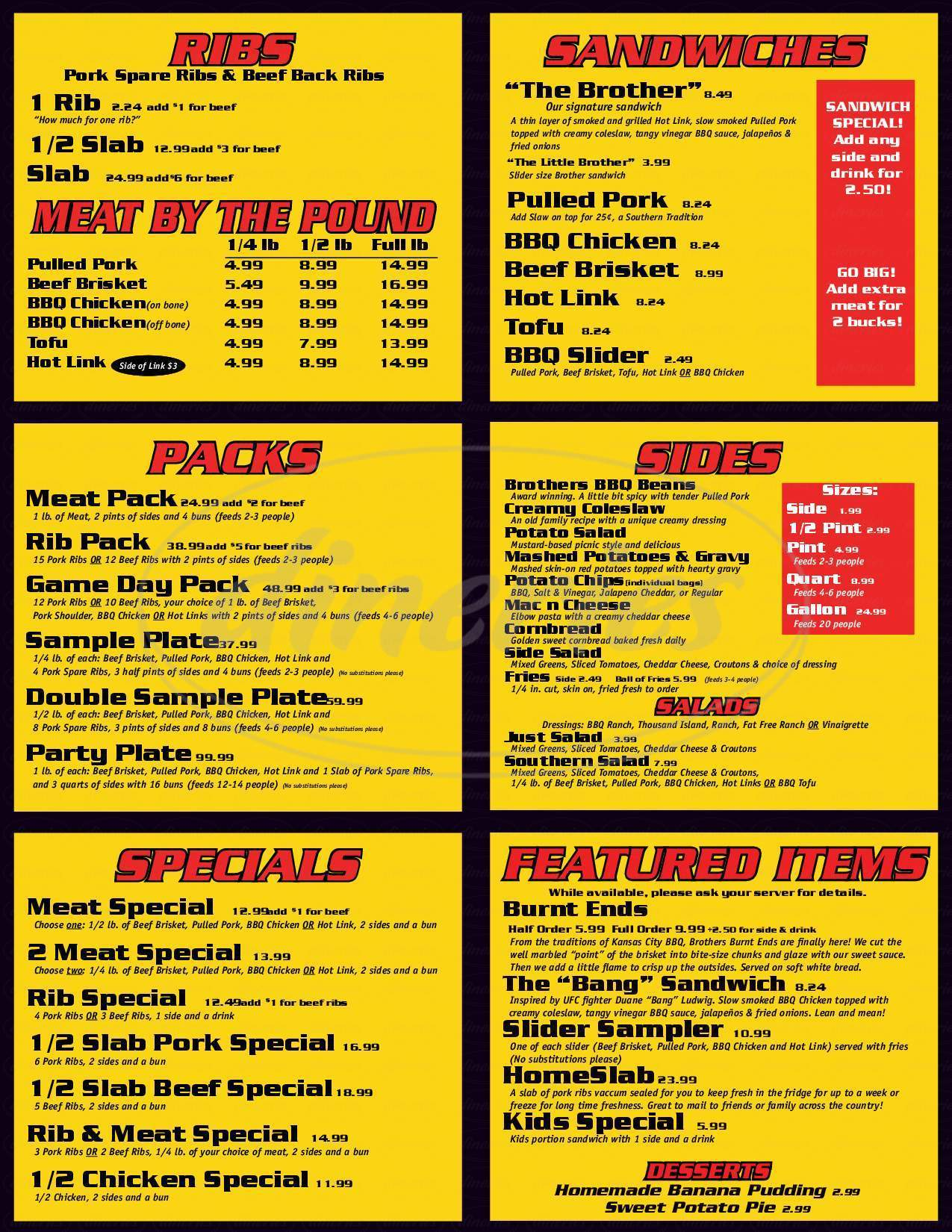 menu for Brothers BBQ