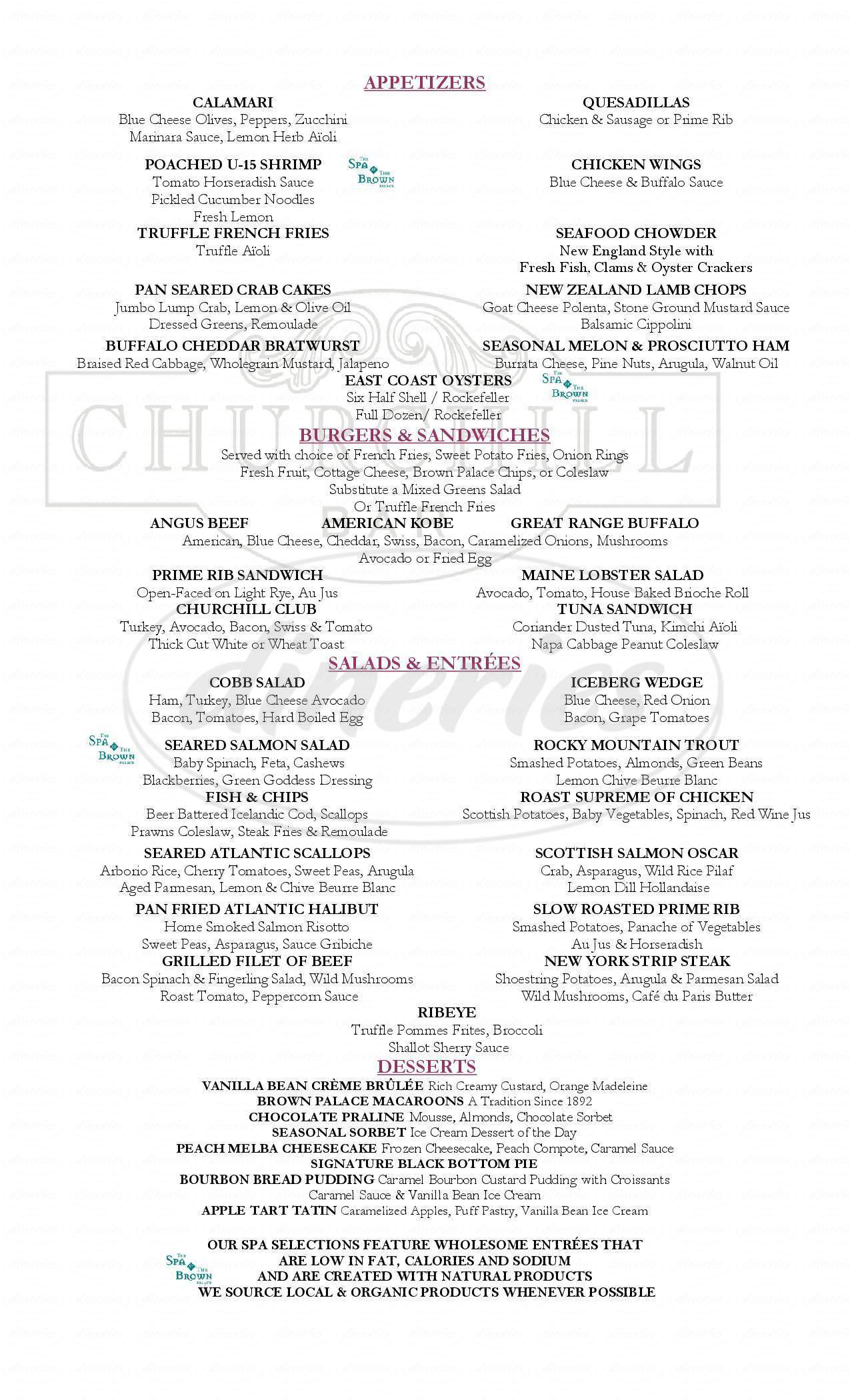 menu for Churchill Bar