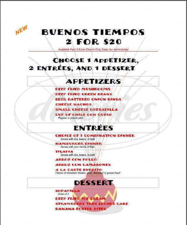 menu for Buenos Tiempos