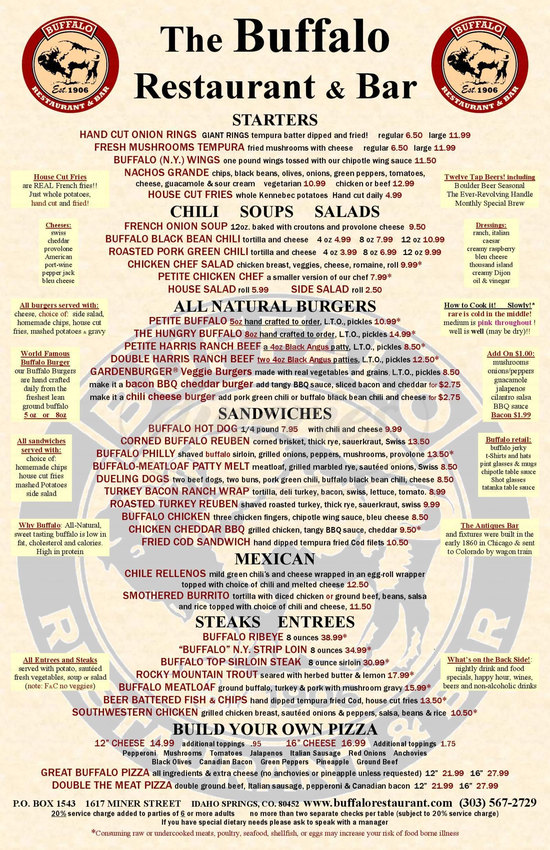 menu for Buffalo Restaurant & Bar