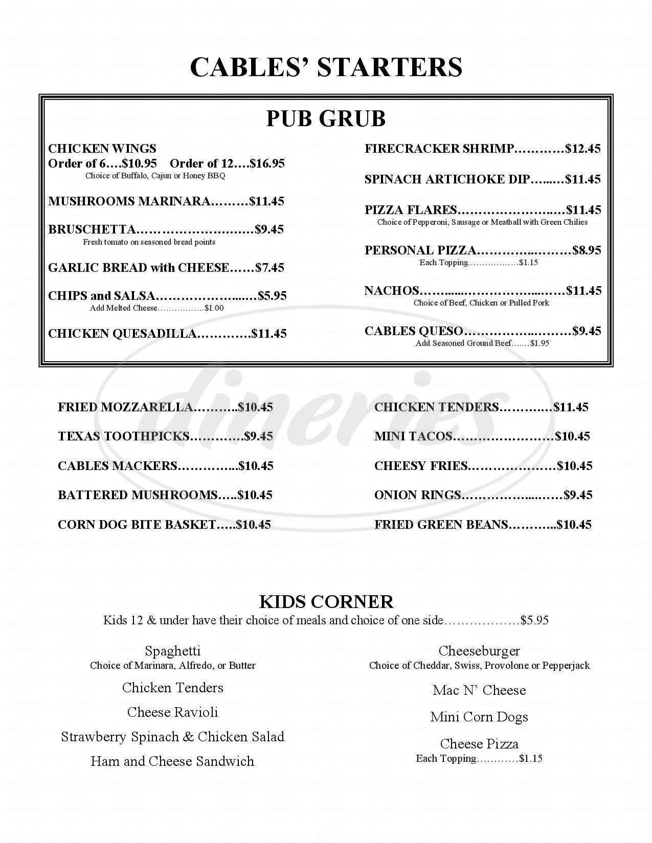 menu for Cables Pub & Grill