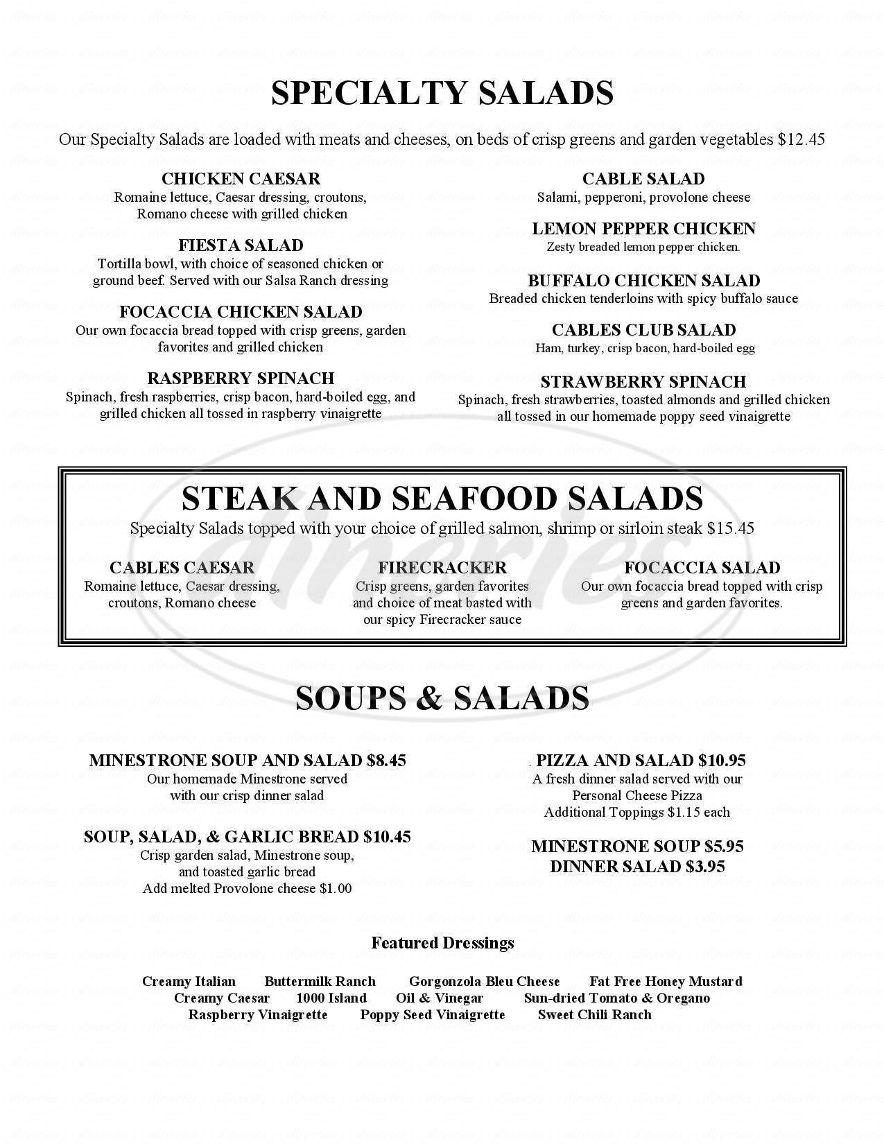 menu for Cables Pub And Grill