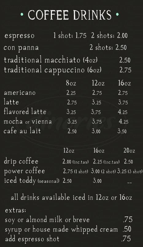 menu for Cafe Ardour
