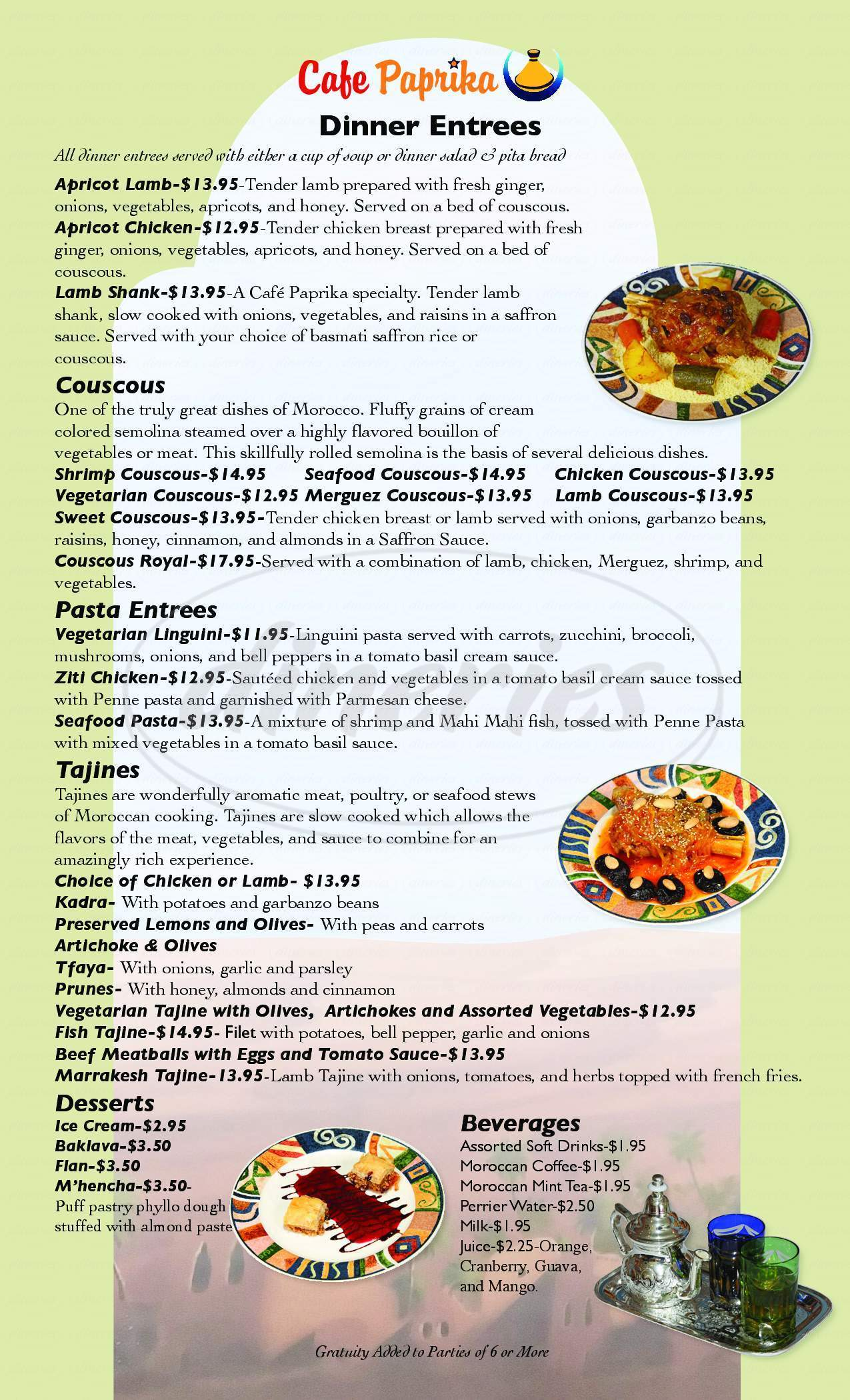 menu for Cafe Paprika