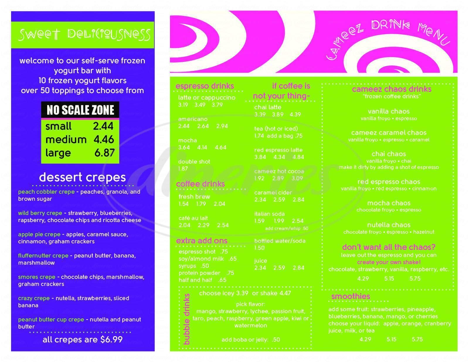 Big menu for Cameez, Frisco