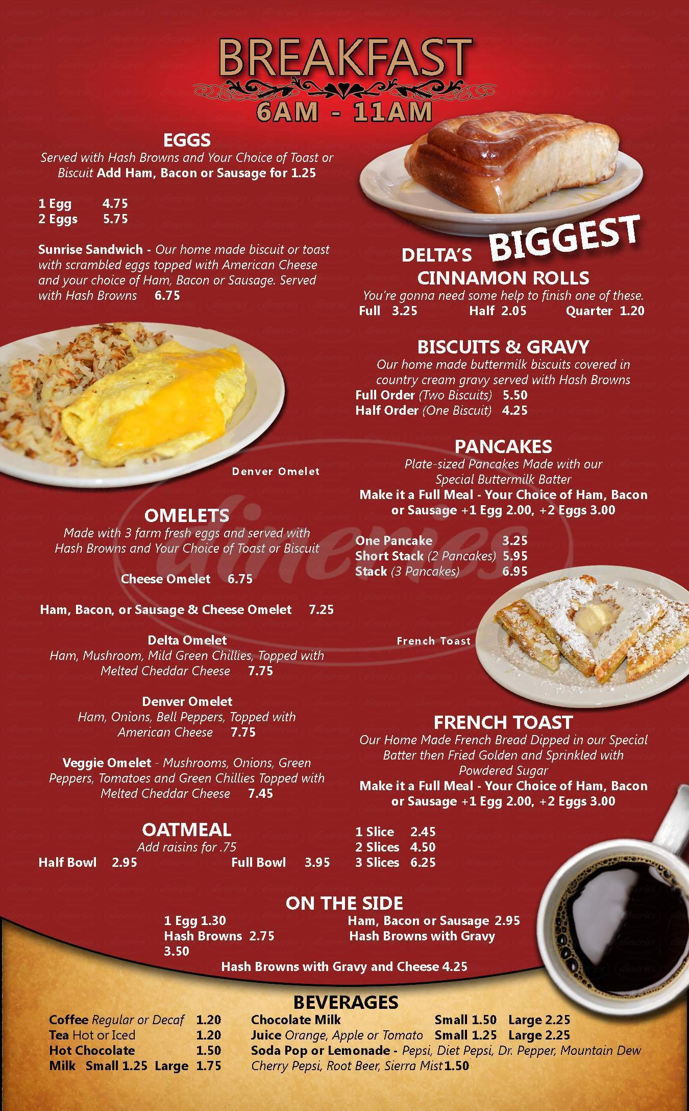 menu for C & J Cafe
