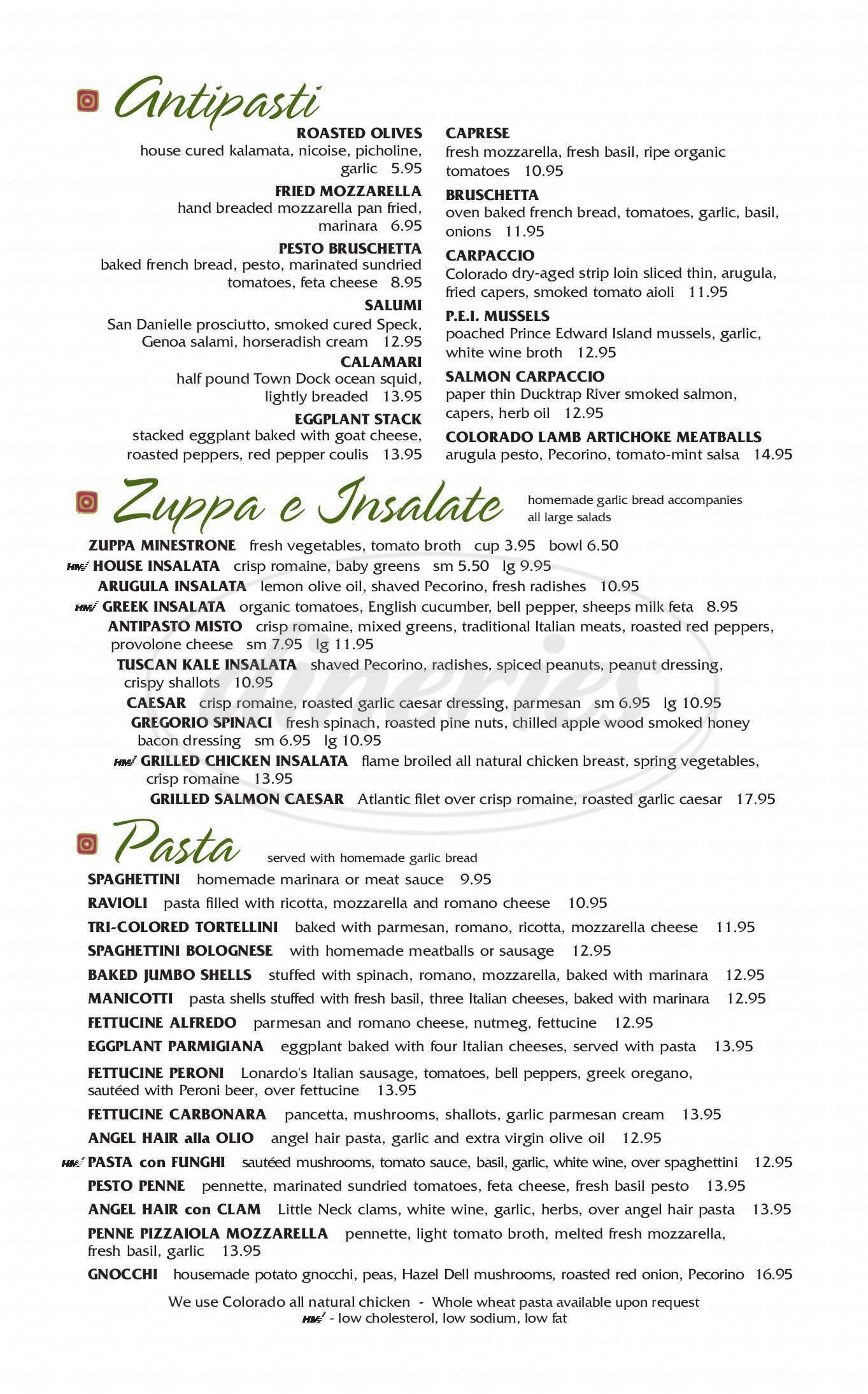 menu for Carelli's of Boulder