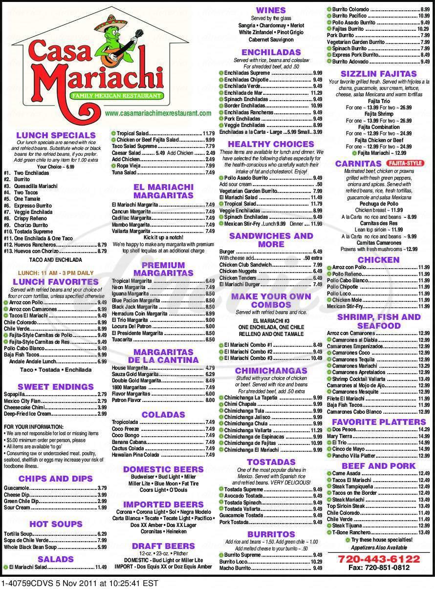 menu for Casa Mariachi