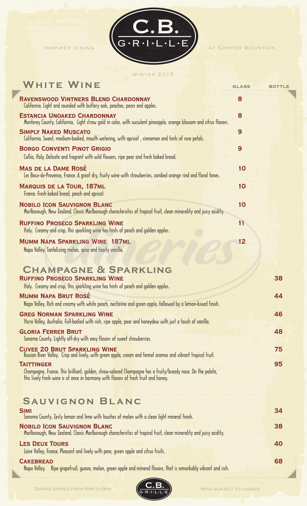 menu for CB Grille