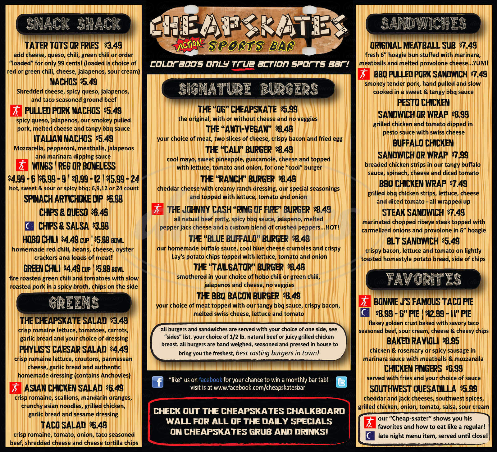 menu for Cheapskates Action Sports Bar