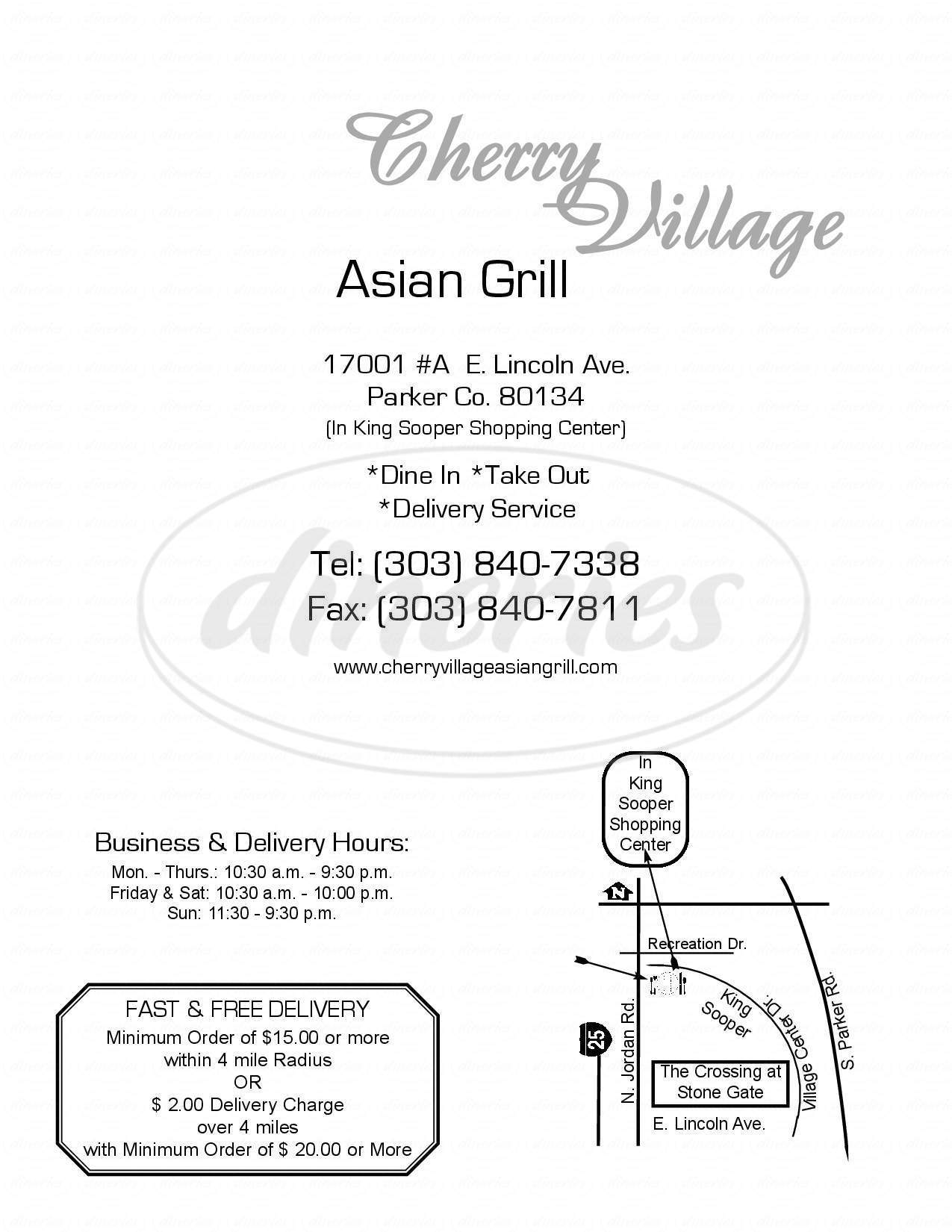 menu for Cherry Village Asian Grill
