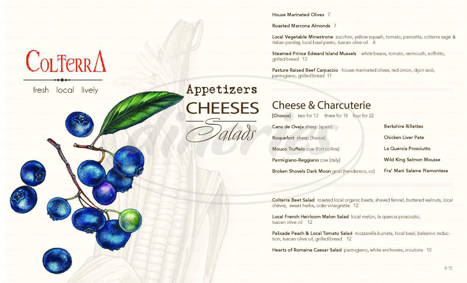 menu for Colterra