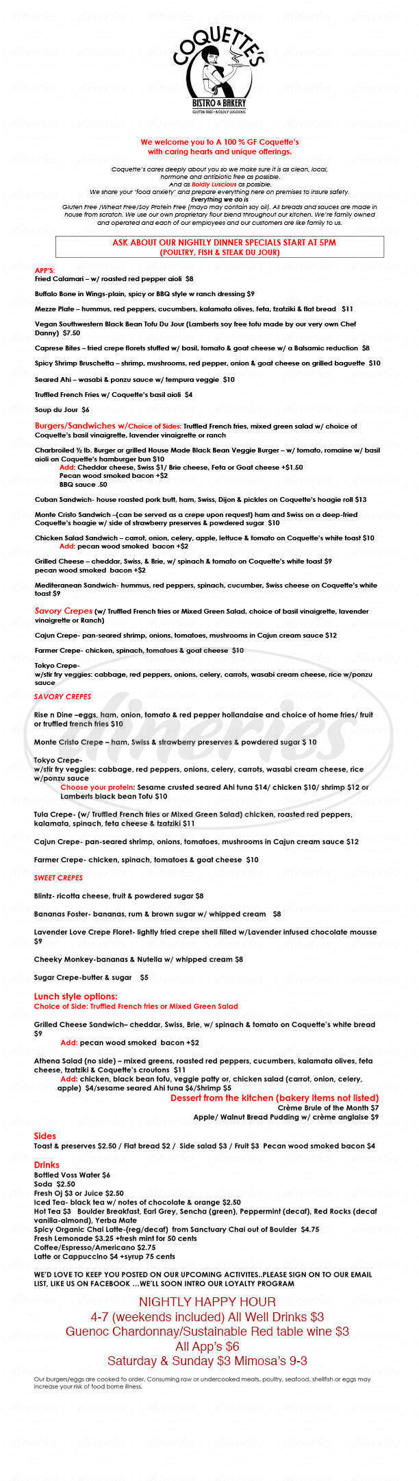 menu for Coquette's Bistro and Bakery