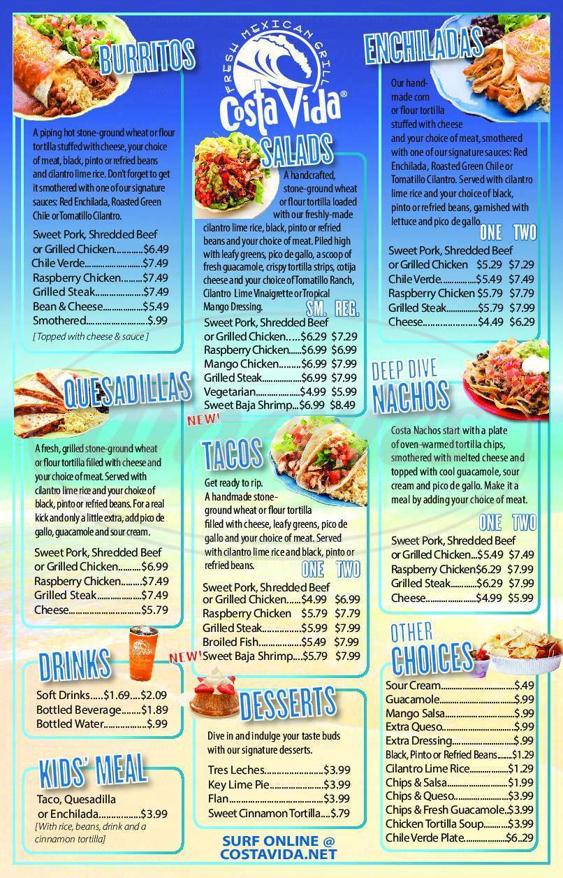 menu for Costa Vida