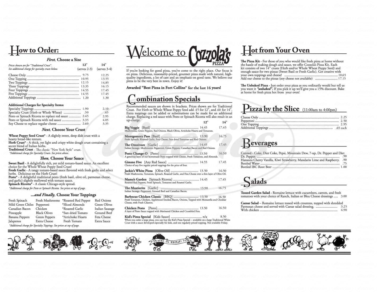 menu for Cozzola's Pizza-South