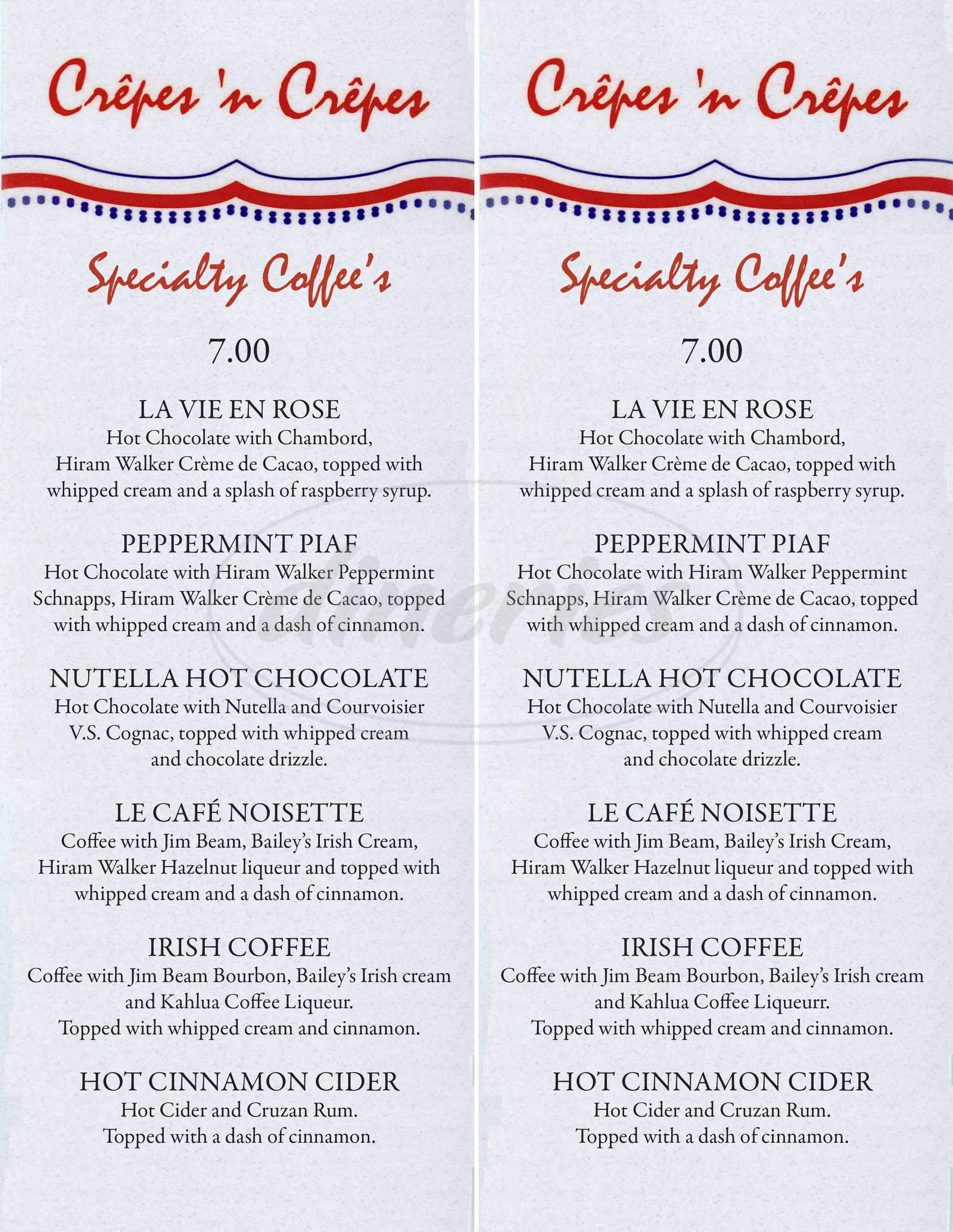 menu for Crepes 'n' Crepes