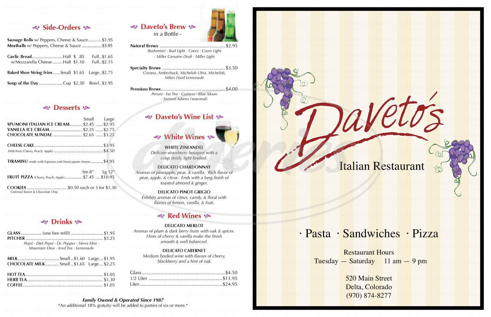 menu for Daveto's