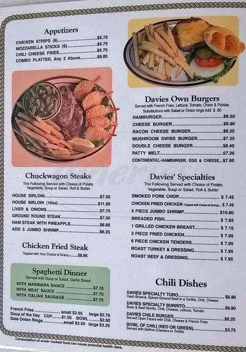 menu for Davies' Chuck Wagon Diner