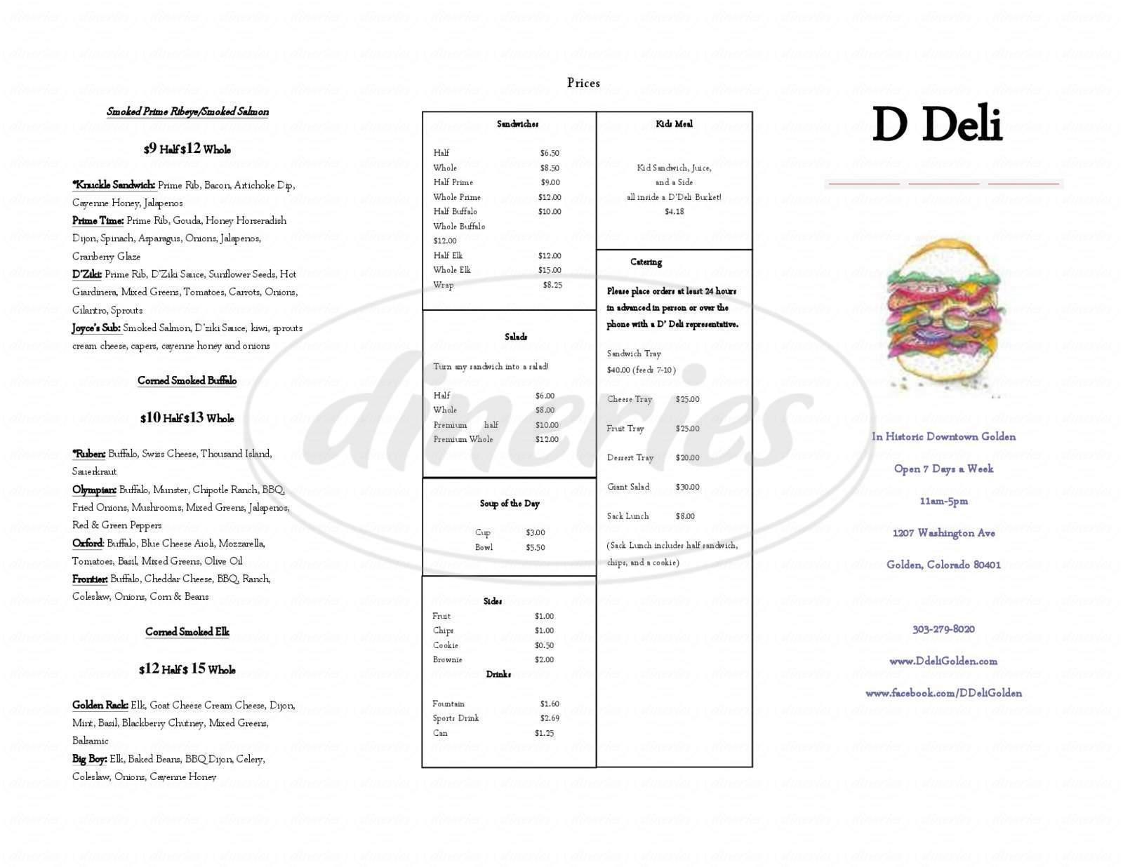 menu for D'deli