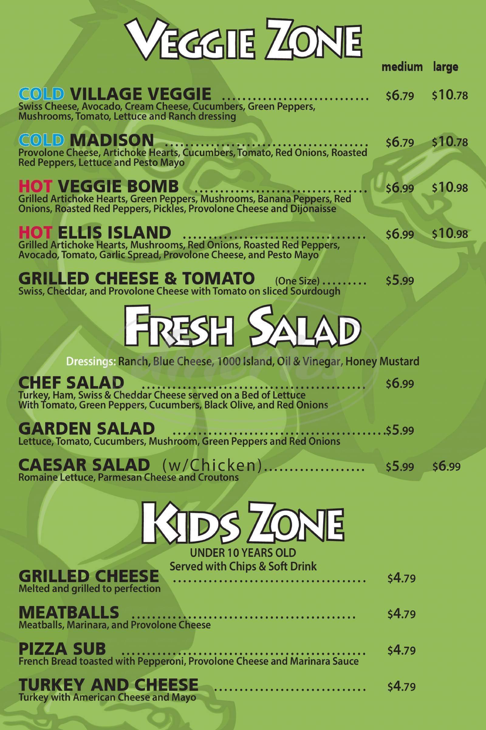 menu for Deli Zone