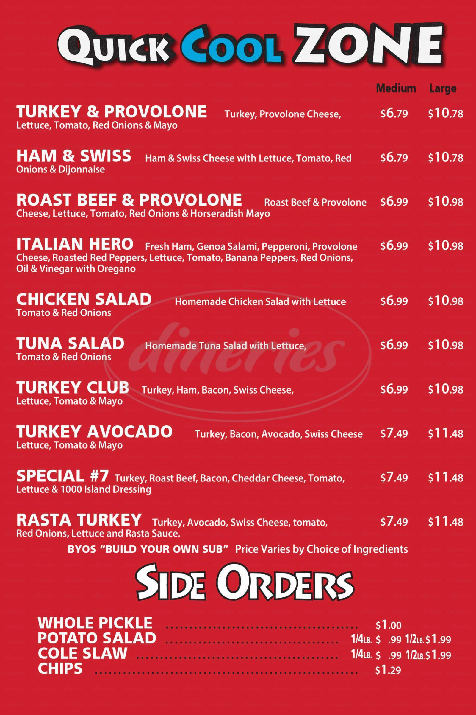 menu for Deli Zone