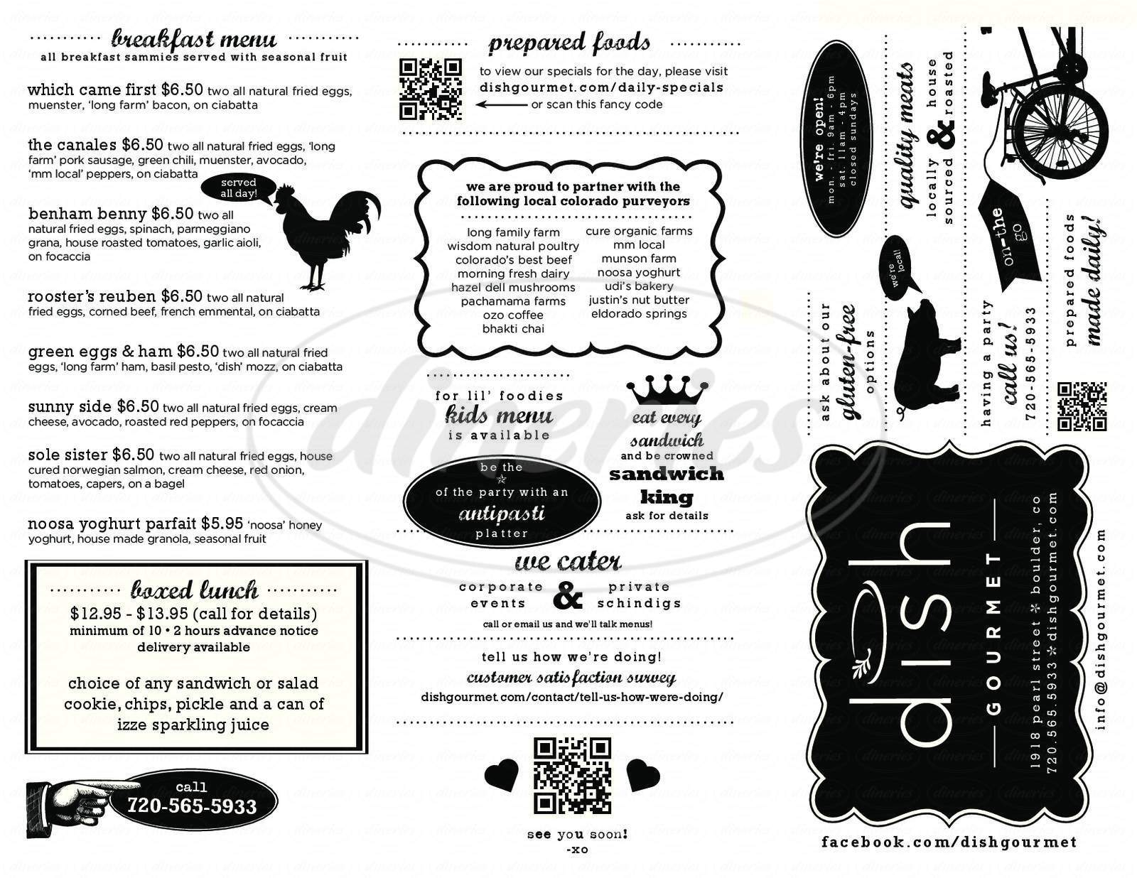 menu for Dish Gourmet