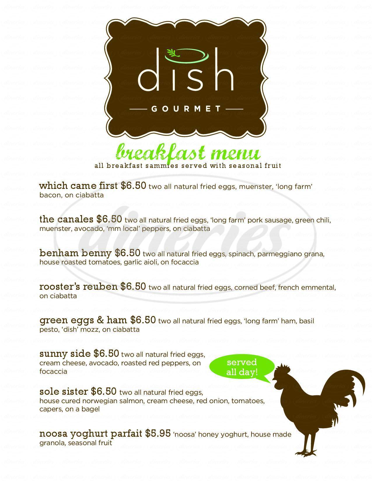 Big menu for Dish Gourmet, Boulder
