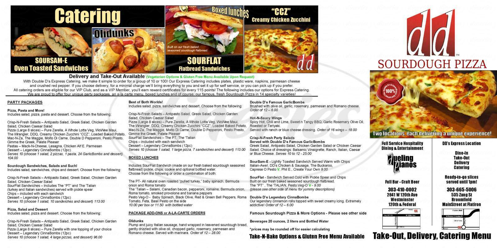 menu for Double D's Sourdough Pizza