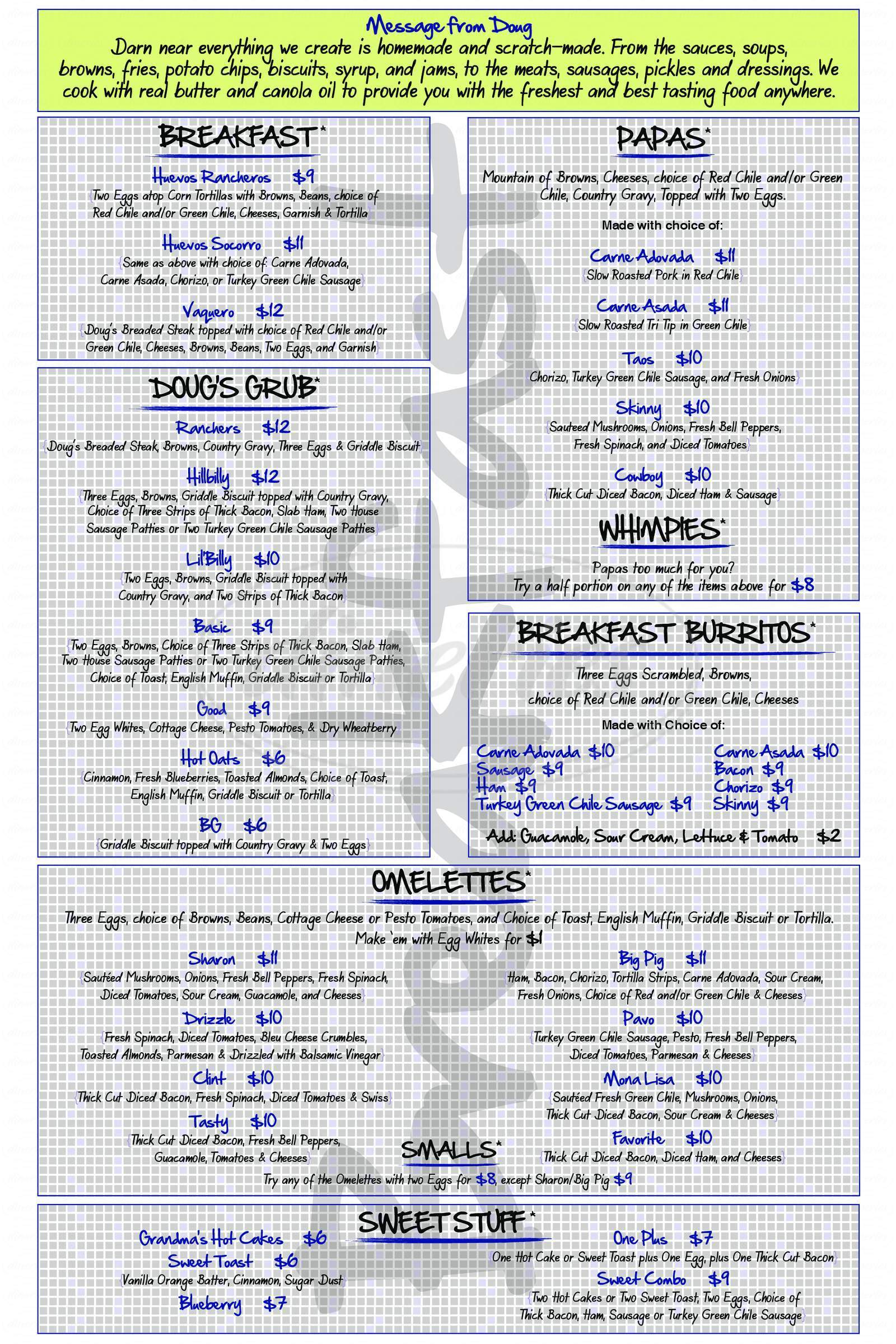 menu for Doug's Day Diner