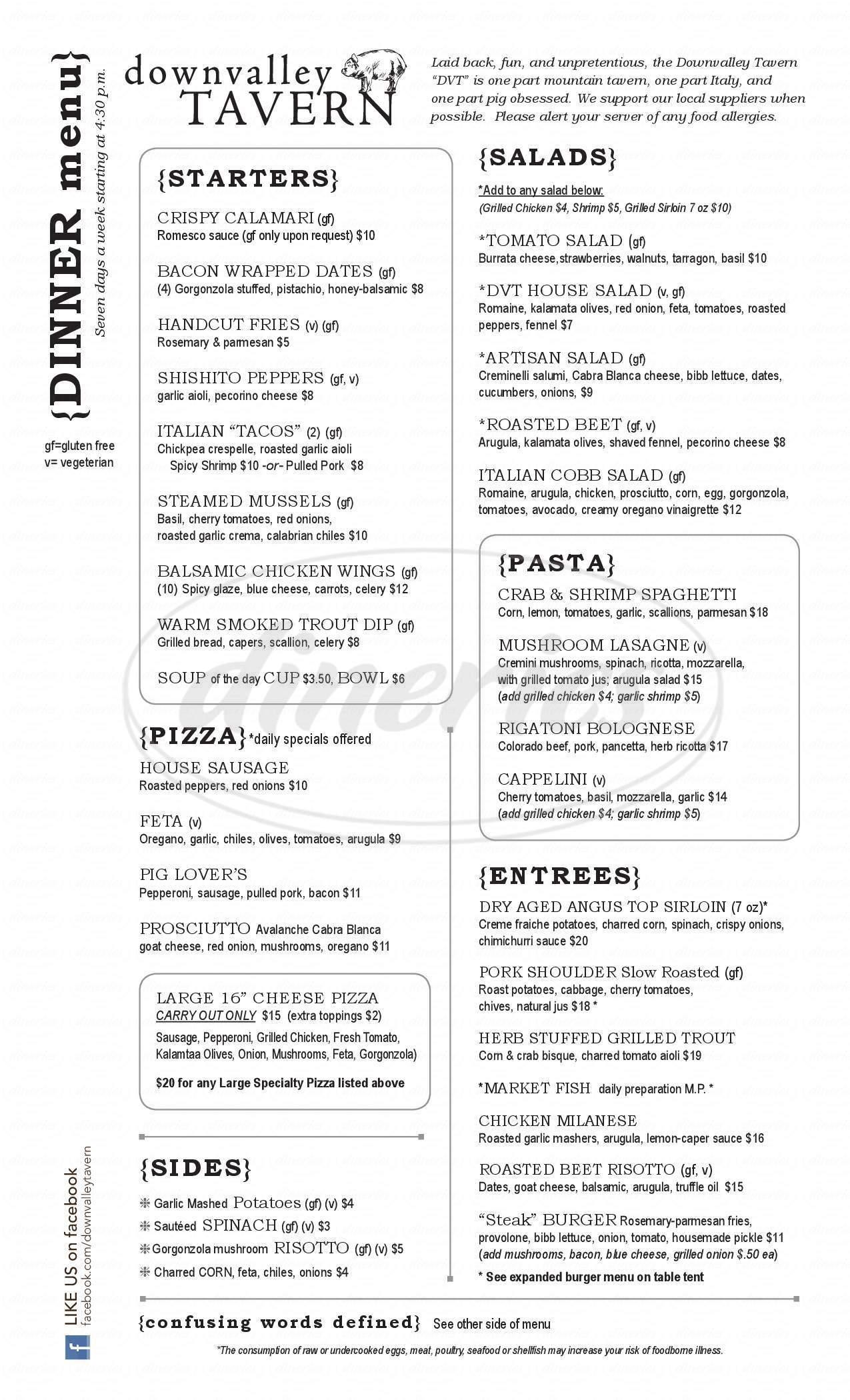 menu for Downvalley Tavern