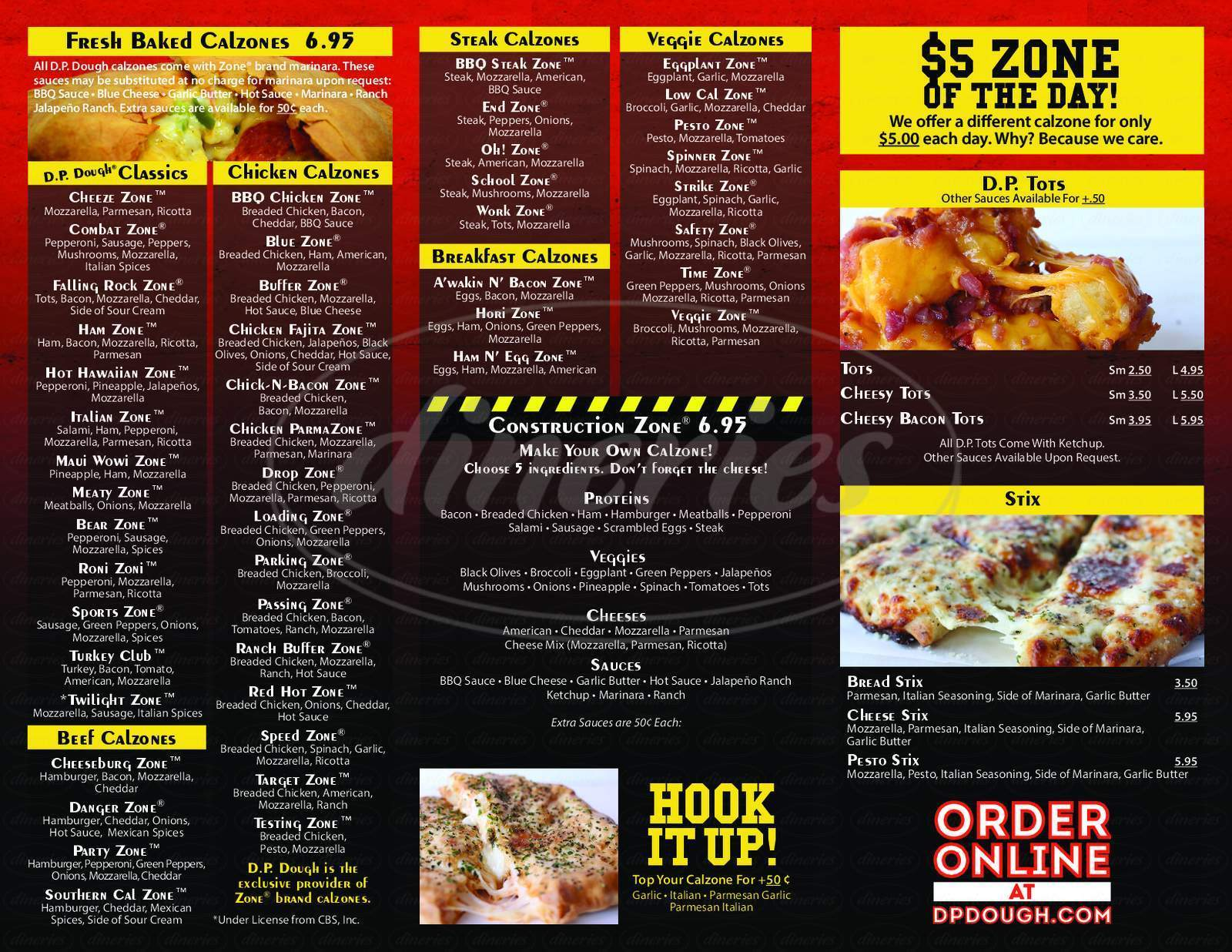 menu for D.P. Dough