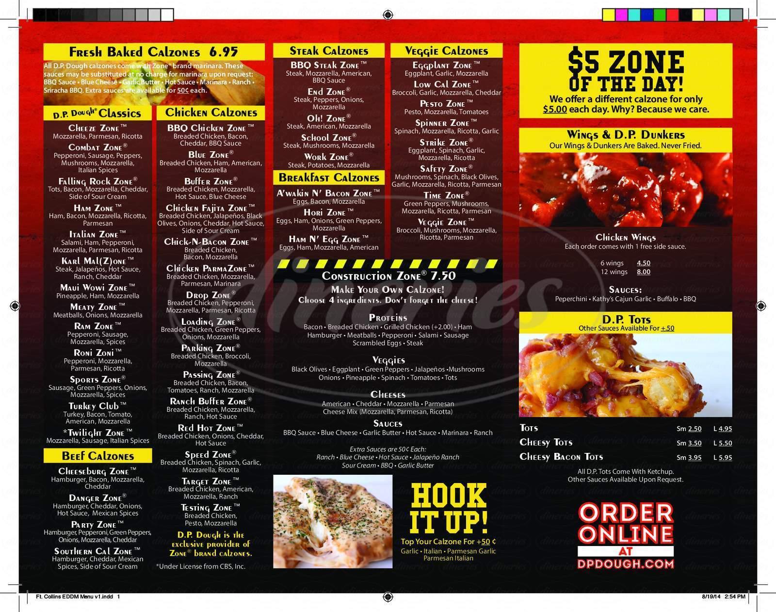 menu for DP Dough