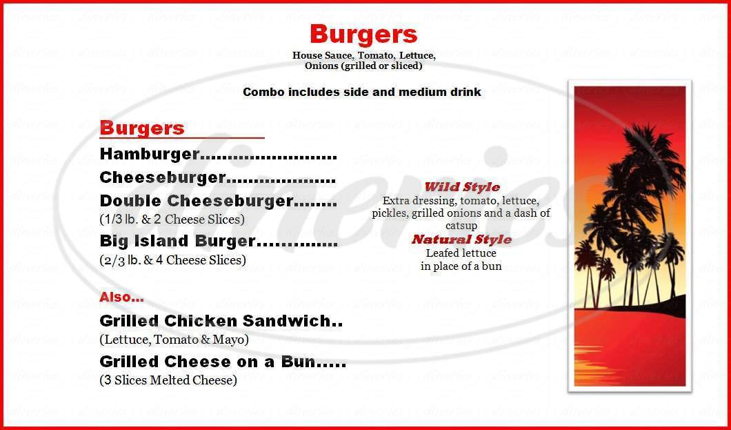 menu for Drifter's Hamburgers