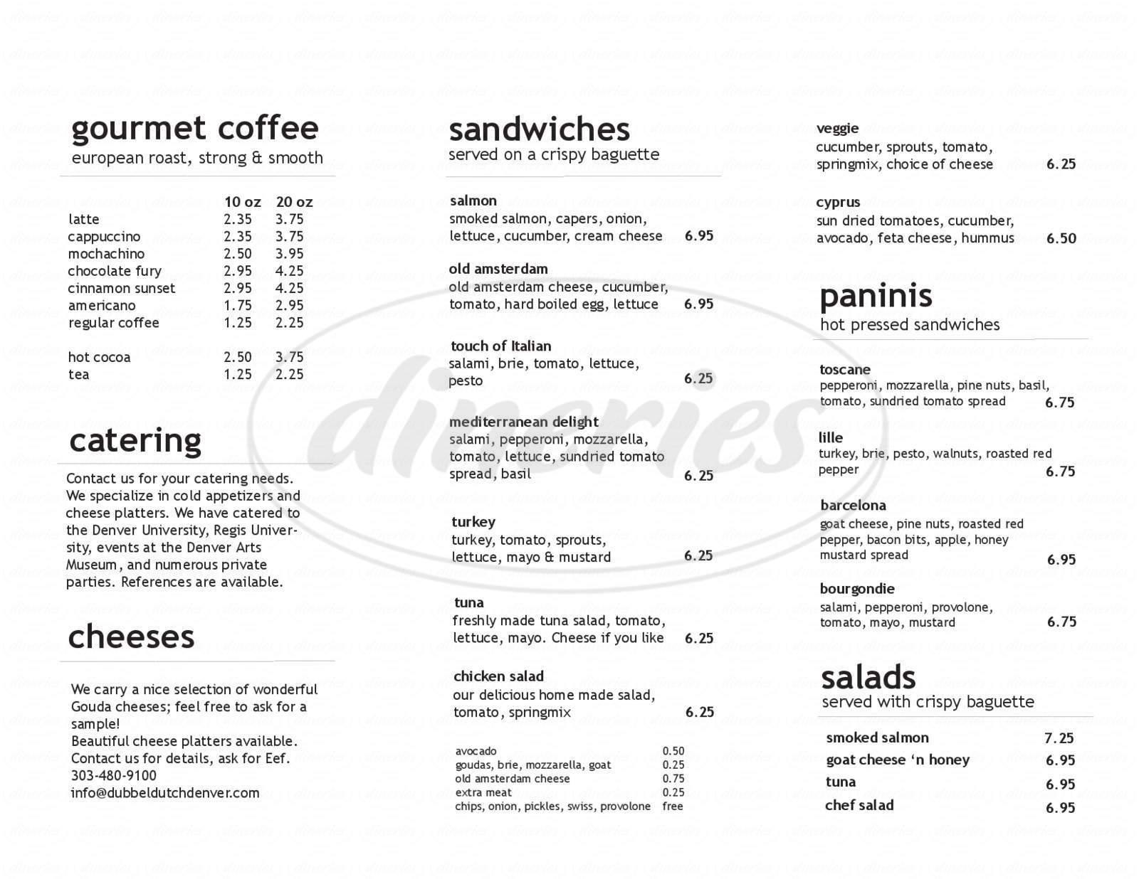 menu for Dubbel Dutch