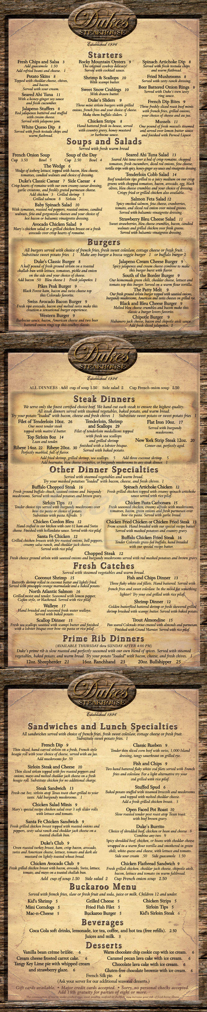 menu for Duke's Steakhouse