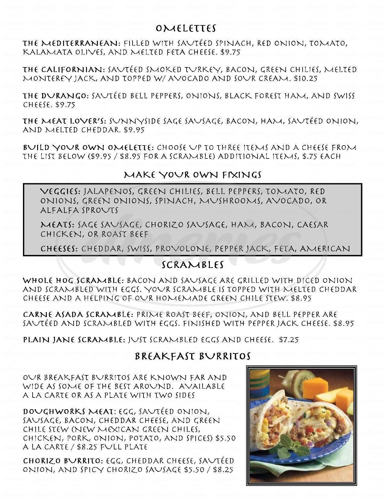 menu for Durango Doughworks