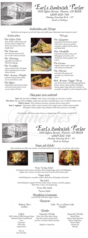 menu for Earl's Sandwich Parlor