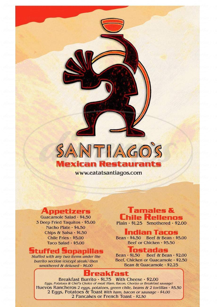 menu for Santiago's II Mexican Restaurant
