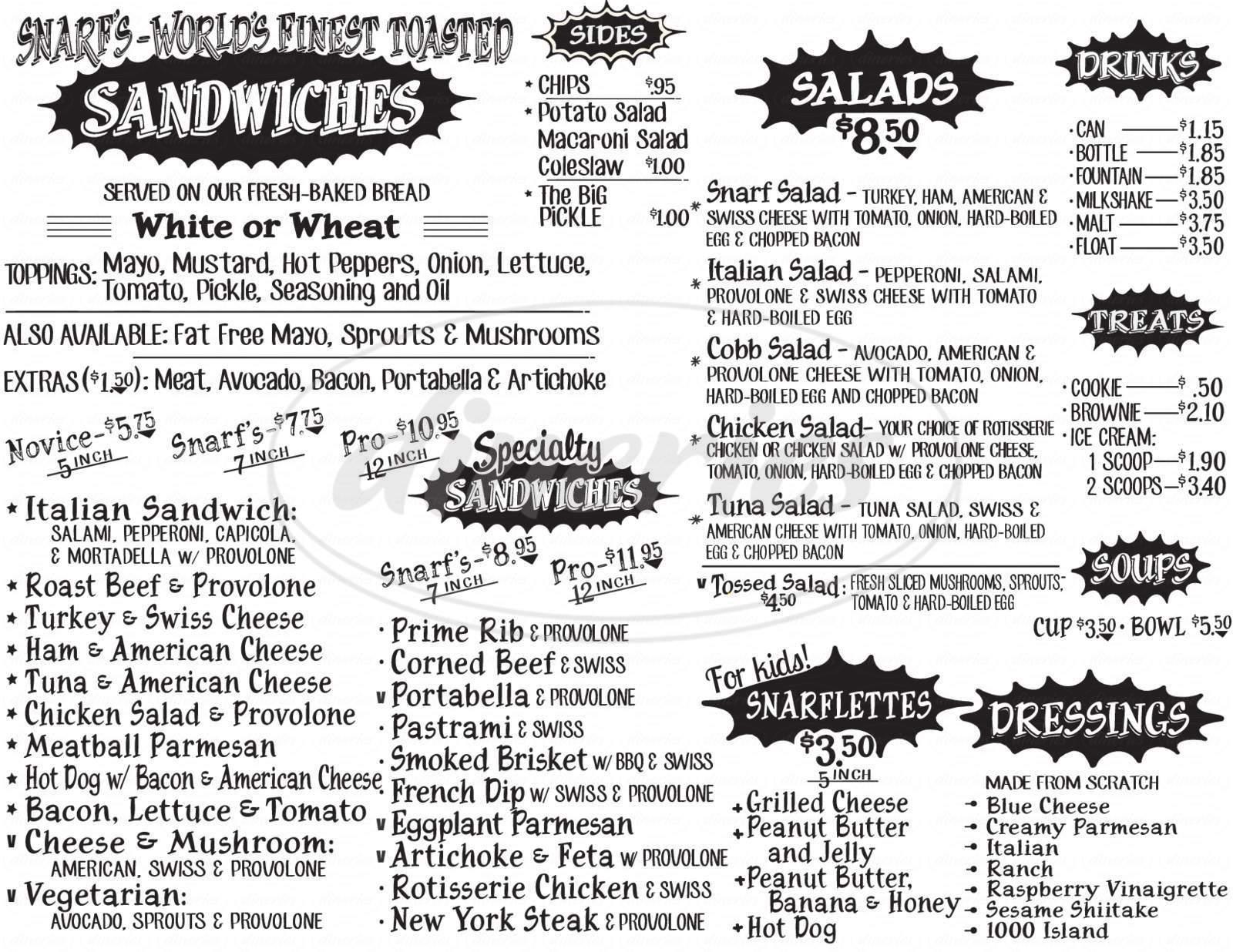 menu for Snarf's