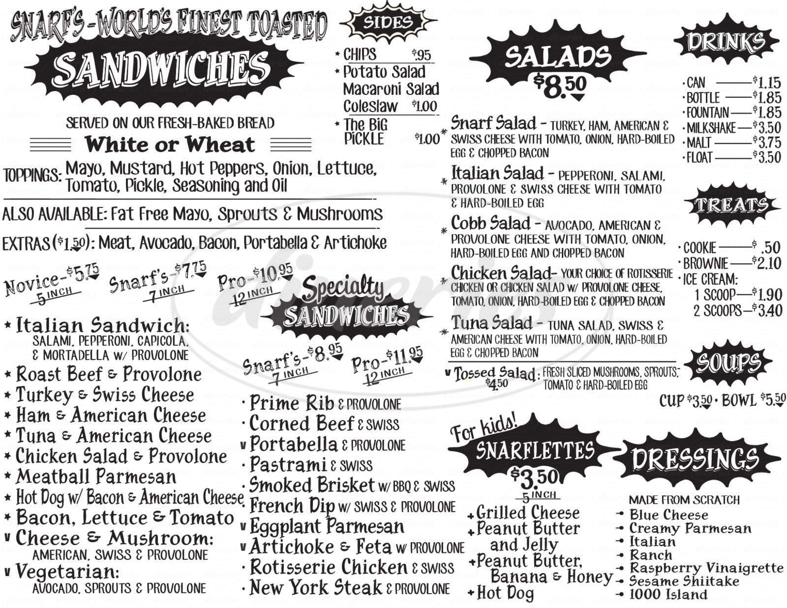 menu for Snarf's