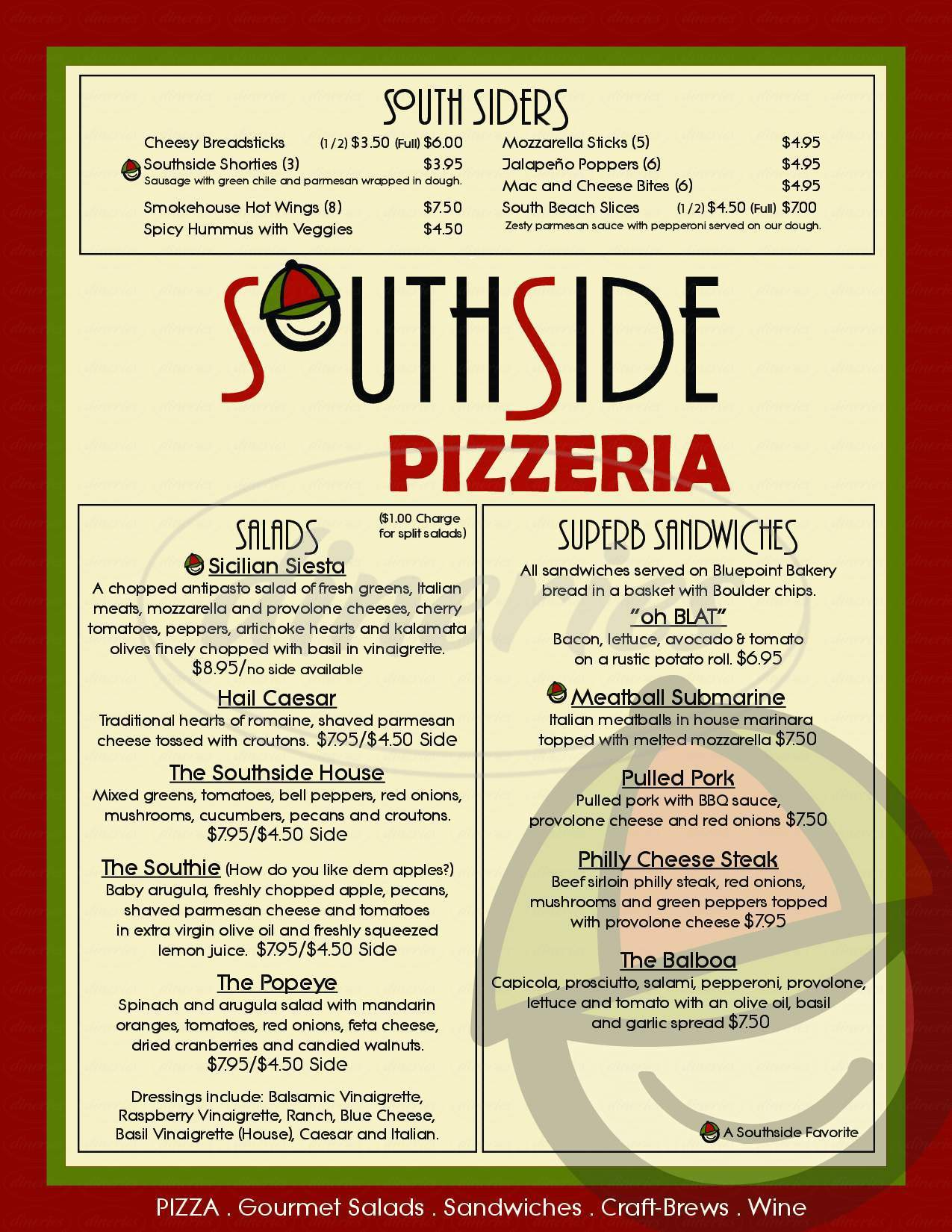 menu for Southside Pizzeria