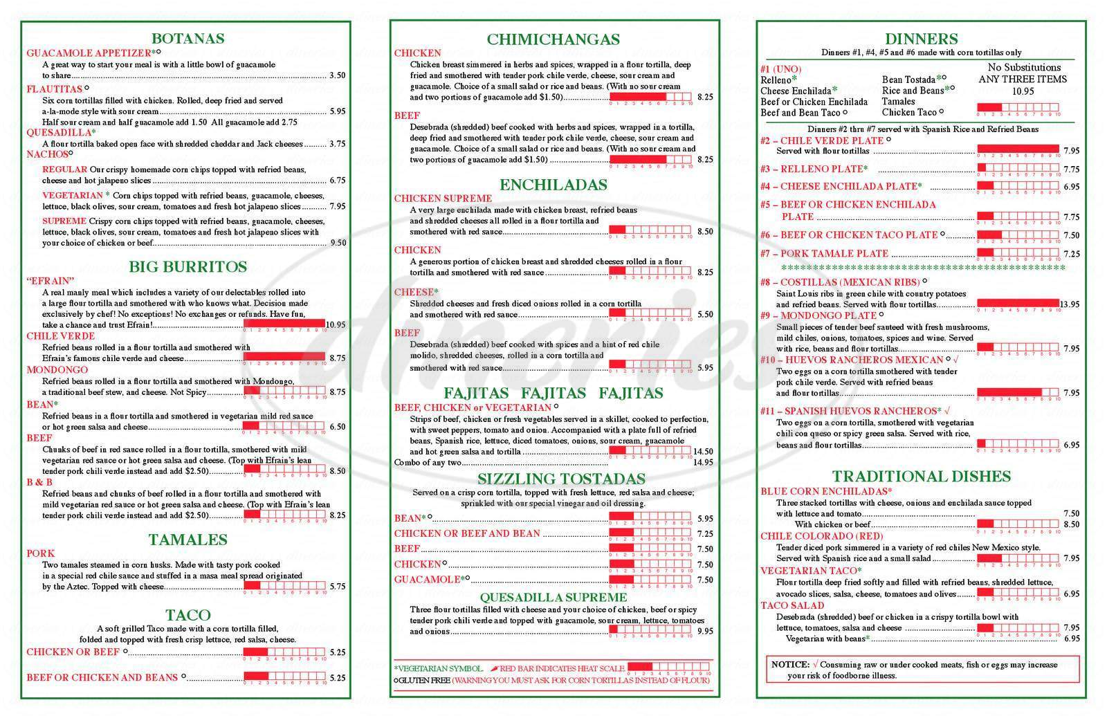 menu for Efrain's Mexican Restaurant