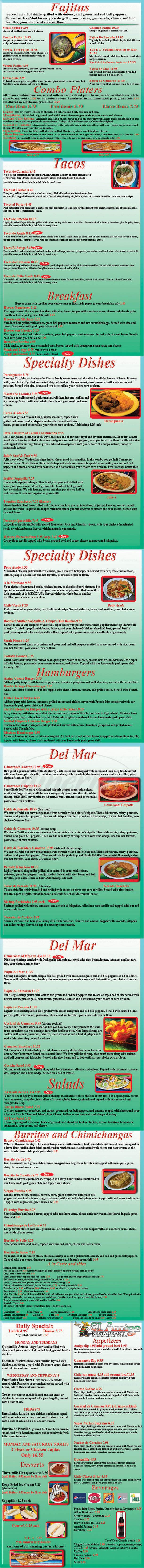 menu for El Amigo Mexican Restaurant