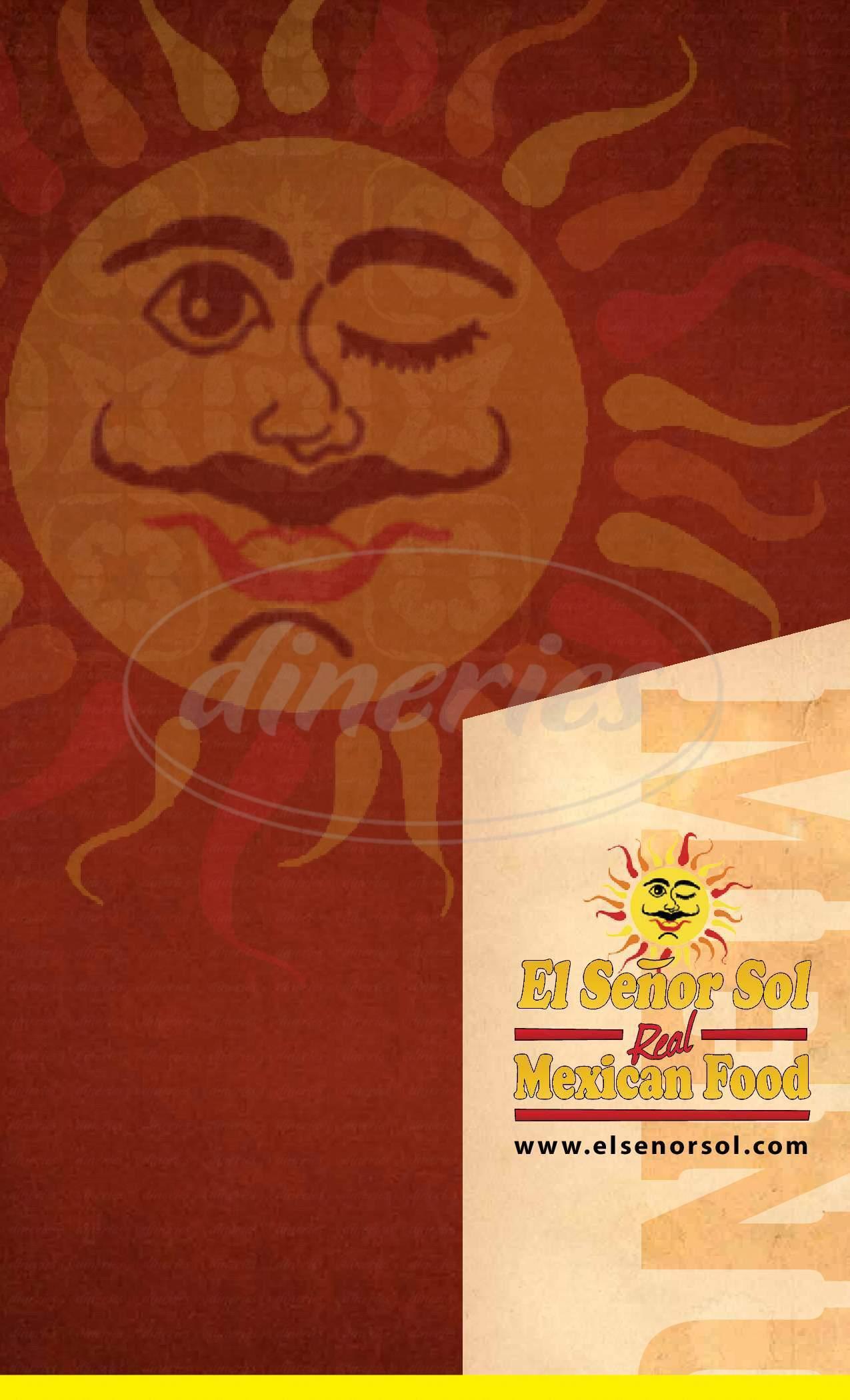 menu for El Senor Sol