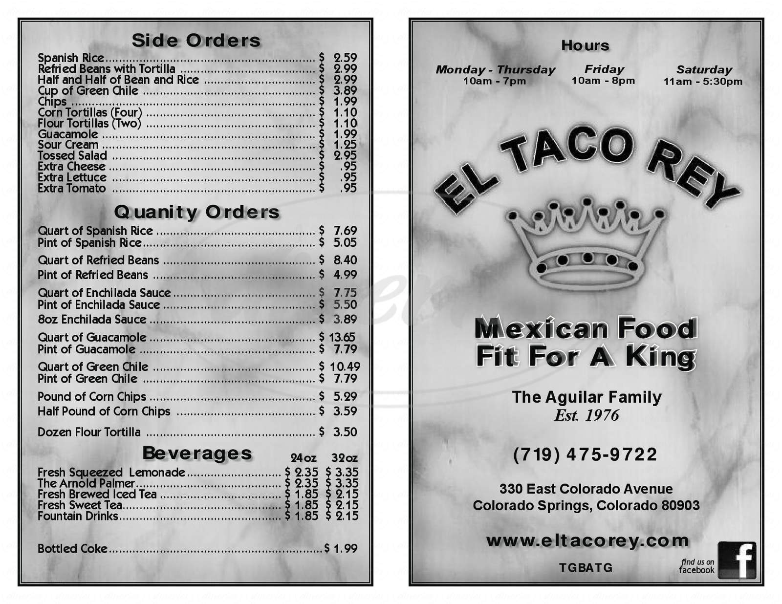 menu for El Taco Rey