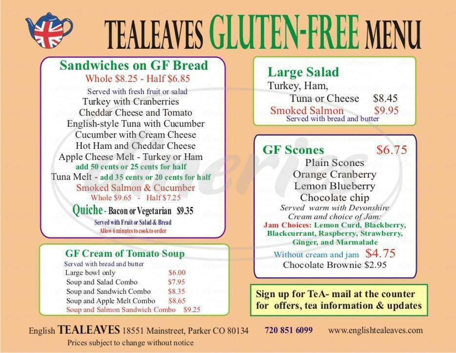 menu for Tealeaves