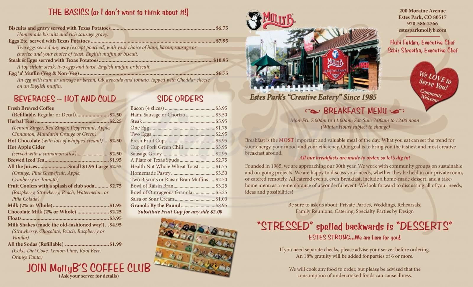 menu for Molly B Restaurant