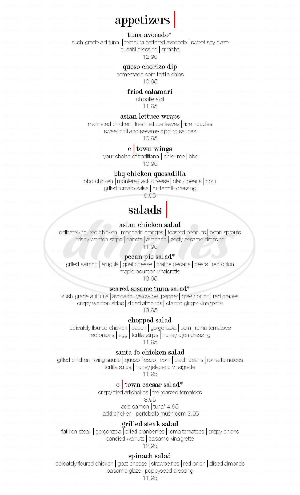 menu for E-Town